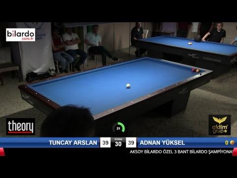 TUNCAY ARSLAN & ADNAN YÜKSEL Bilardo Maçı - AKSOY BİLARDO 3 BANT TURNUVASI-Yarı Final