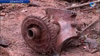 В Демянске поисковики подняли фрагменты самолета Пе-2, упавшего в сентябре 1941 года