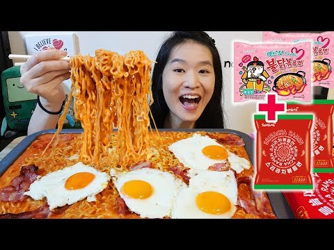 SUPER CREAMY! Carbonara + Sriracha Fire Noodles w Bacon & Eggs   Spicy Ramen Mukbang w Eating Sounds