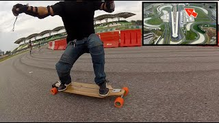 Evolve Bamboo Street Electric Skateboards at the Sepang F1 Circuit