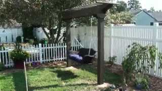 Pergola / Arbor Garden Swing - Wicker & Wood
