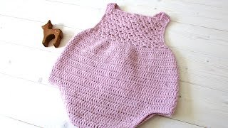 How To Crochet A Pretty Shell Stitch Baby Romper - The Millie Romper