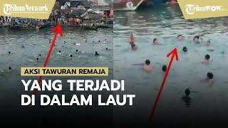 Viral Video Aksi Tawuran Remaja Sambil Berenang di Laut, Warga: Biasanya karena Masalah Sepele