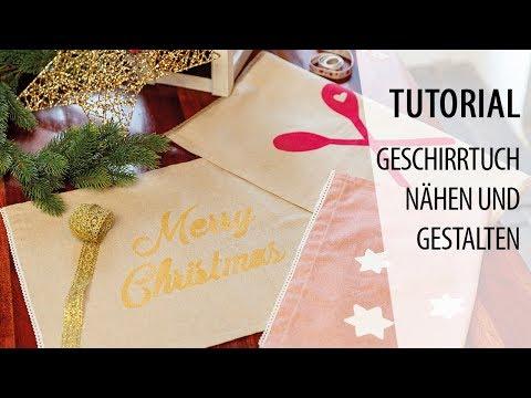 Weihnachtsdeko basteln - Geschirrtücher nähen und gestalten | Tutorial