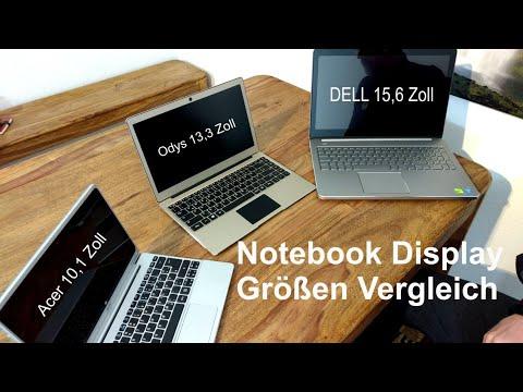 Notebook Display Größen im Vergleich  - Dell Inspiron 15,6 - ODYS Winbook 13,3 -  Acer Aspire 10,1