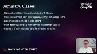 Summary: Classes – Swift for Complete Beginners