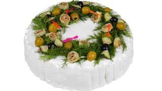 Закусочный торт для праздничного стола. Пошаговый рецепт.