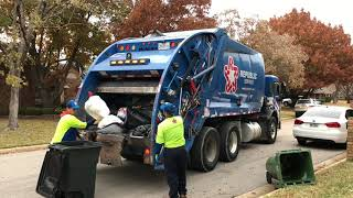 Republic Services: Rear Loader Garbage Truck on Manual Trash and Leaves