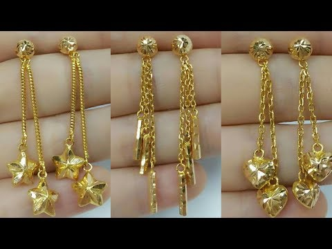 Latest Light Weight Gold Earrings Designs Chain Dangling 2018