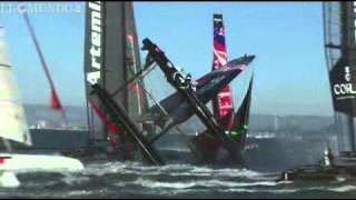 Accidente regata barcos - sailing boat accident - Bmw Oracle Team Usa - America