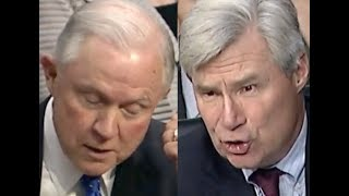 """""""IT SAYS IT RIGHT THERE!!!"""" Sheldon Whitehouse CONFRONTS Jeff Sessions on His BS Defense of Trump"""