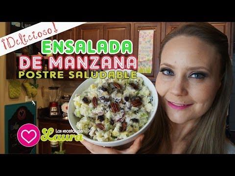 Como hacer ENSALADA DE MANZANA  con nueces y pasas - Comida Saudable