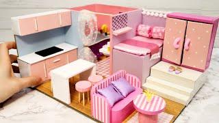 DIY Miniature Cardboard House #18    Bathroom, Kitchen, Bedroom, Living Room For A Family