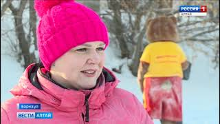Две собаки и санки: в Барнауле детей покатали на хаски