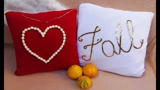 DIY FALL ROOM DECOR I NO SEW Pillows From Recycled Tshirt I DIYs with an old tshirts