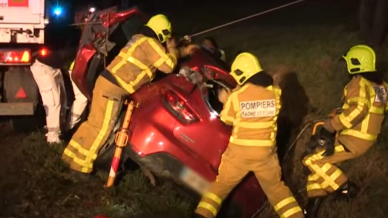 Choc frontal entre un camion et une voiture… Les pompiers interviennent