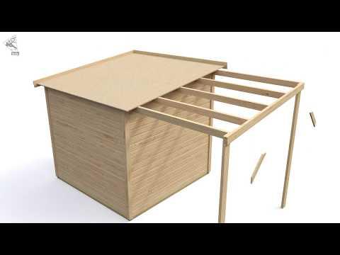 Karibu Gartenhaus 14mm Pultdach mit Anbaudach Montagevideo