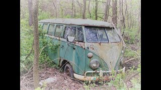 #114 Abandoned 1960s Volkswagen Bus and other vehicles in woods!