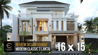 Video Desain Rumah Modern Classic 3 Lantai Ibu Winda di  Padang, Sumatera Barat