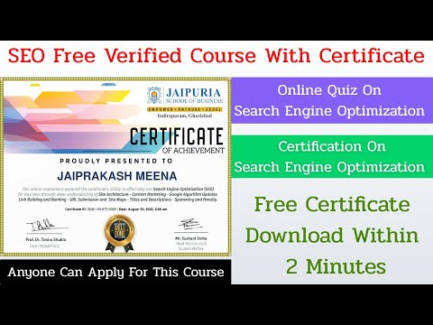 SEO Free Certification Course   Online Quiz On