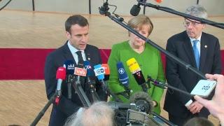 Gentiloni a Bruxelles, punto stampa con Macron e Merkel (23/02/2018)