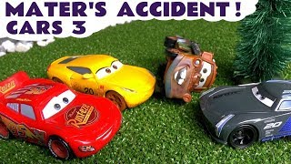 Cars 3 McQueen Cruz and Jackson Storm - Mater's Accident Surprise Toys with Thomas The Tank TT4U