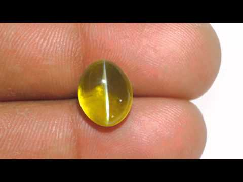 7.70-Carat Flawless Greenish Golden Yellow Chrysoberyl Cat's Eye
