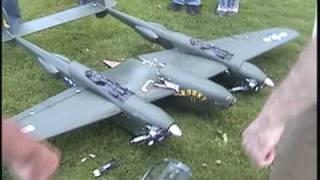 90'' RC P-38 lightning crash