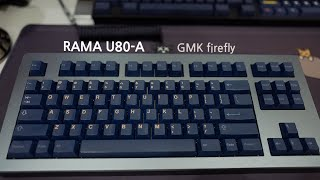 RAMA U80-A moon and GMK Firefly Keycap Set with lubed and filmed Gateron Ink Blacks Typing Sounds