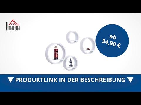 Homcom Bücherregal 4 tlg. Set Wandregal Regalset Hängeregal rund weiß  - direkt kaufen!