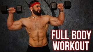 15-Minute Home Full Body Workout With Dumbbells (Killer Total Body Muscle Building Workout!!) by BarbarianBody