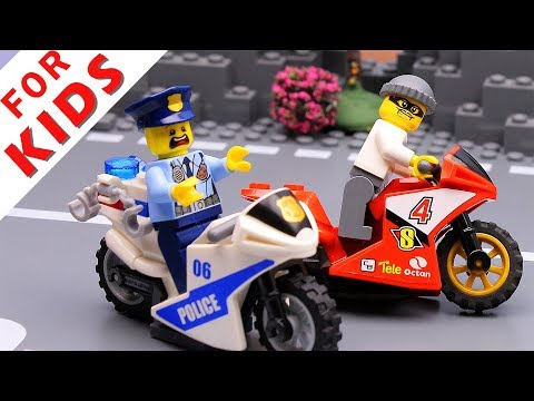 Police Car And Motorbike Lego City Police Chase Animation Video