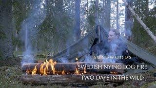 Bushcraft Winter Overnight - Swedish Nying - Canvas Lavvu Shelter - Chicken Rotisserie