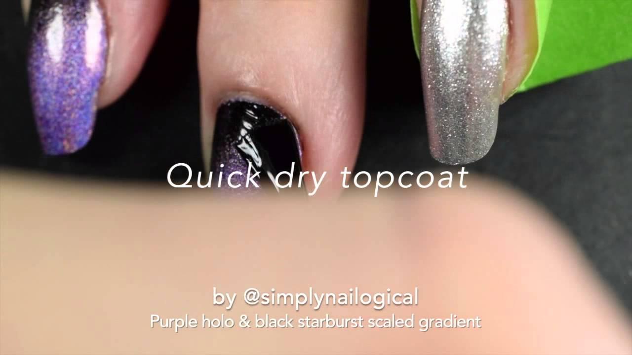Black & purple holo starburst scaled gradient nail art tutorial thumbnail