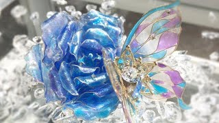 蝶とブルーローズのレジン✨DIY Flowers And Resin Wire Resin Art Project And Ideas