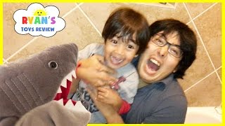 PET SHARK ATTACK! Playing Chase and Hiding Family Fun Activities for Kids Toy Shark Pretend Playtime