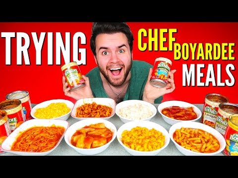 TRYING CHEF BOYARDEE CANNED MEALS! - Ravioli, Chicken Alfredo, Mac N' Cheese, & MORE Taste Test!