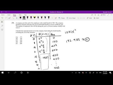 SOA Exam P Question 279 | Expected Cost with Poisson Distribution ...
