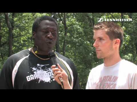 Interviewing NFL legend Lomas Brown at the FAAM football camp