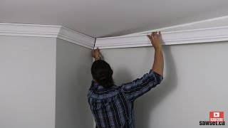 How To Install CROWN MOLDING Using Sawset