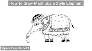 Simple Madhubani Elephant Art Tutorial