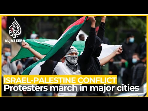 Protesters march in major cities as Israel strikes Gaza