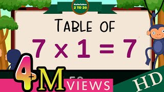 7-x1=7 Multiplication, Table of Seven 7 Tables Song  Multiplication Time of tables  - MathsTables