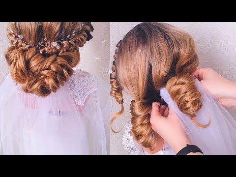 СВАДЕБНАЯ ПРИЧЕСКА ! Как закрепить фату? How to fix a veil? Wedding Double Knotted Hairstyles.