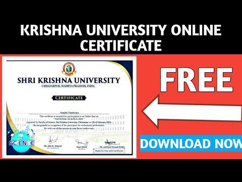 Krishna University Free Online Certificate | Free Science Course ...