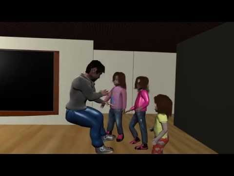 3 little girls and one intruder.  3d animation blender 3d