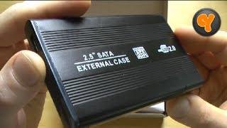 "Test: Tmart 2,5"" USB 2.0 S-ATA Festplatten Gehäuse Extern HDD Case Black"