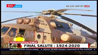 Military chopper carrying the body of mzee Moi leaves Wilson airport for Kabarak ahead of his burial