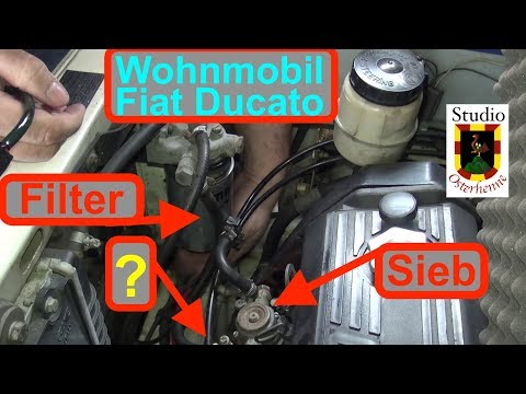 Wohnmobil Ducato Dieselfilter wechseln  Sieb  reinigen und Motorentlüftung auswaschen