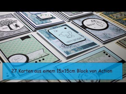 27 Karten aus 15x15 DesignBlock von Action / Watch me Craft / Karten basteln Material von Action
